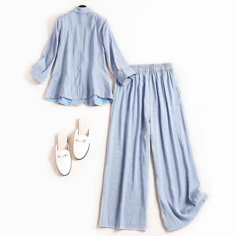 De Costume Un Blazer Mode S See 2 Bleu Nouvelle Bouton Femmes Bureau Set Chart Printemps Pantalon Long Piece 2019 Lday 5xWw4Aqn