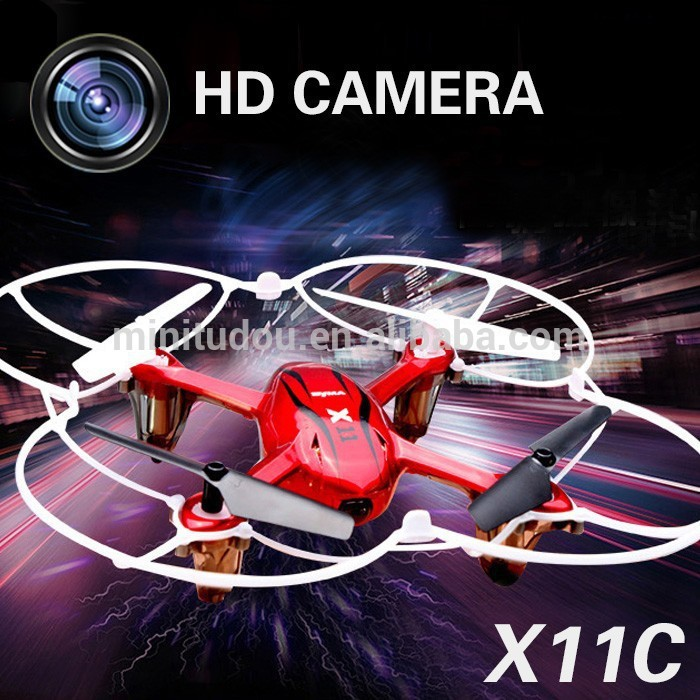Free Shipping Hot Sell China Wholesale RC Quadcopter Outdoor UFO drone Toys X11C 2.4G 4CH 6 Axis Gyro Frame Dron camera