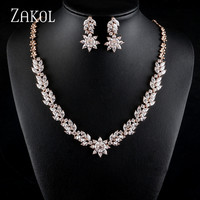 ZAKOL Glamour Women's Wedding Jewelry Set Zirconia Flower Necklace Earrings Set Accessories Gift Wholesale FSSP431