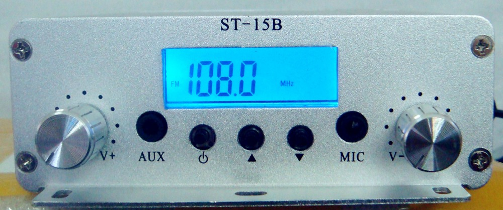 15W 86MHz-108MHz FM broadcast transmitter ST-15B stereo PLL fm radio broadcast station 86MHz-108MHz mini portable stereo digital fm transmitter fm radio station broadcast with microphone audio launch 500 meters hdr 831