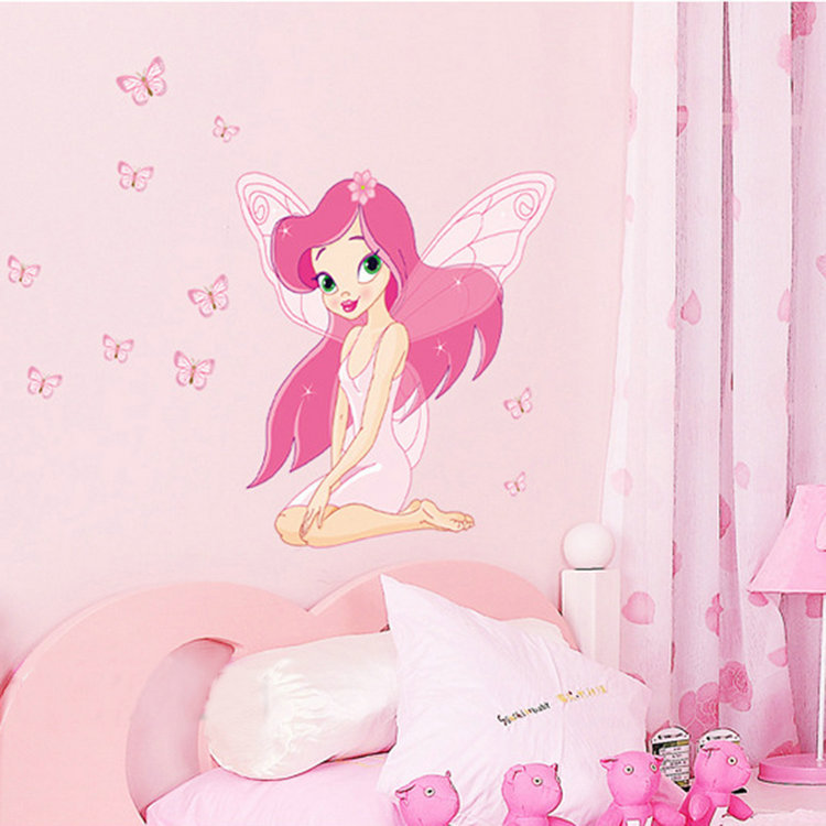 Exceptional Fairy Princess Wall Mural Part   19: Large Pink Fairy Princess With  Butterly Decals Art Part 30