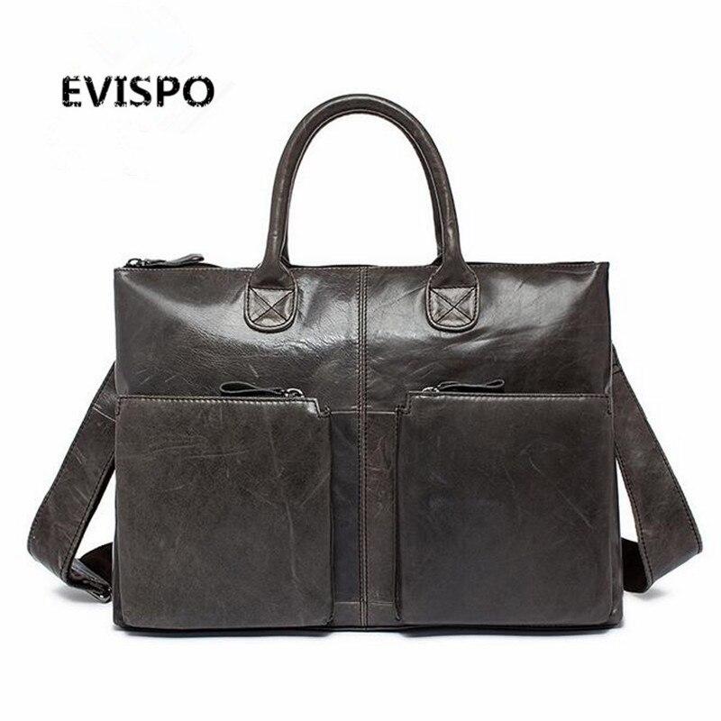 EVISPO Genuine Leather Men Bags Nature Cowhide Leather Male Bag Men's Briefcase Shoulder Bags Man Messenger Cross Body Handbags