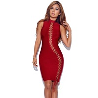 2017 hollow out lolita bodycon bandage dress red women beach dresses sexy club wear summer sundress clothes