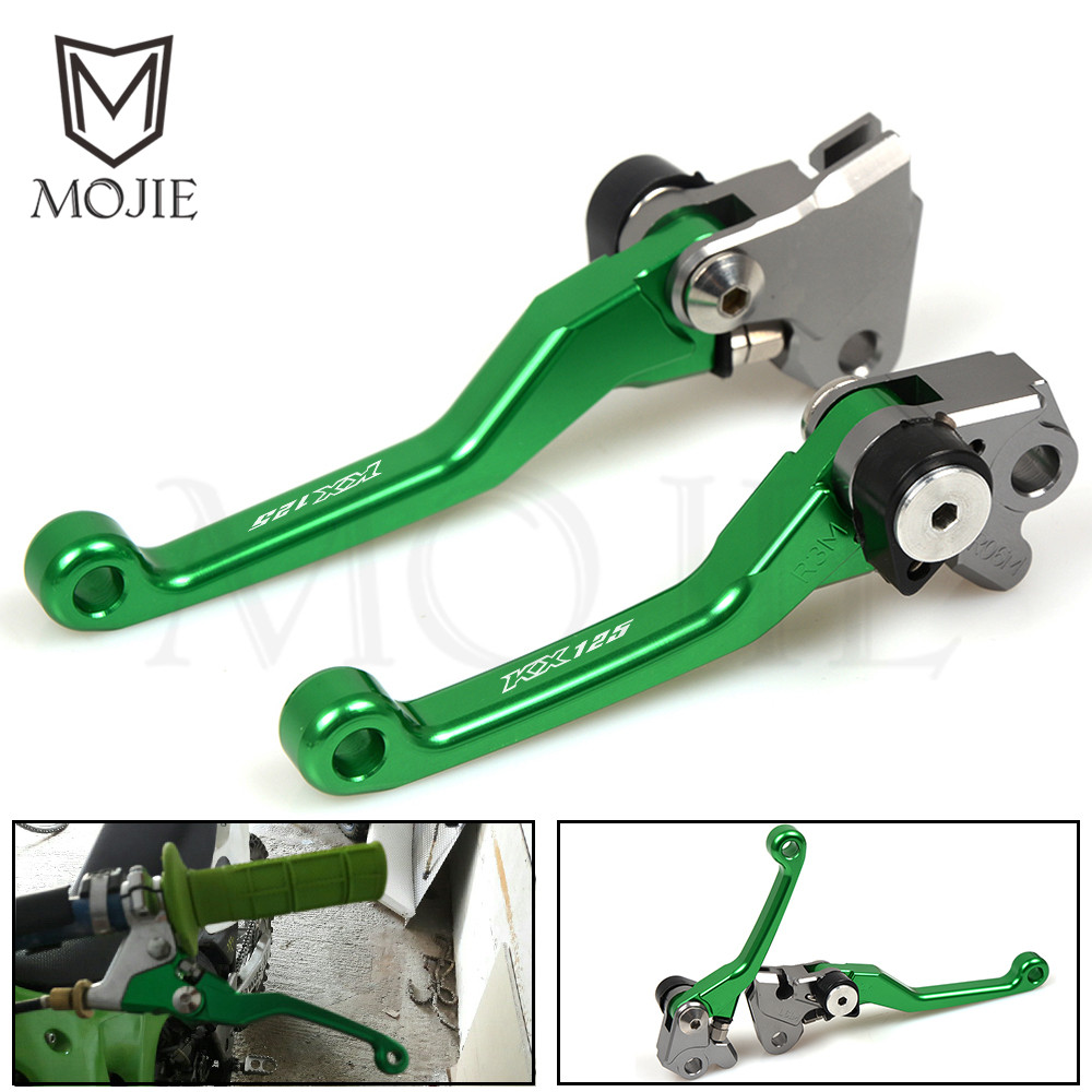For KAWASAKI KX125 KX250 KX250F KX450F KX 125 250 250F 450F 2005-2012 2011 2010 CNC Pivot Brake Clutch Levers Dirt Bike Green cnc pivot foldable clutch brake lever for kawasaki kx125 kx250 kx 125 250 kx250f kx450f kxf 250 450 kd 200 220 kdx200 kdx220
