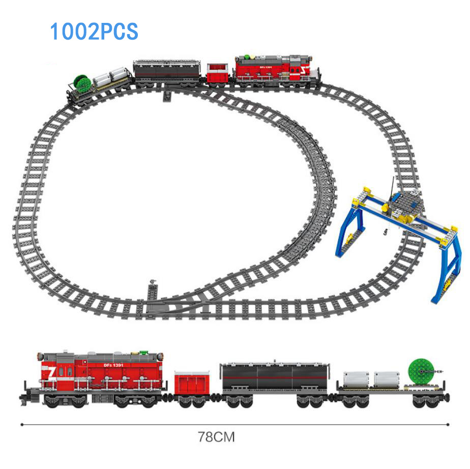 Technics battery operated DF5 railway train building block Train conductor driver figures Flat Trailer bricks toys collection