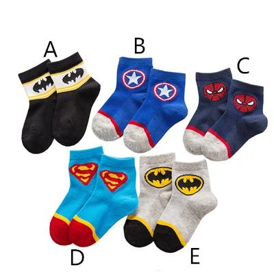 Batman Ironman Classical Cartoon Summer Style Pure Cotton Character Pattern Superheros Men's Socks Happy Cute Socks
