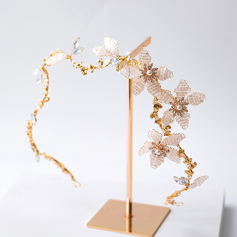 Baroque Headband Bride Jewelry Flower Bridal Tiara Hair Band Headpiece Wedding Hair Accessories Bijoux Cheveux Mariage WIGO1337