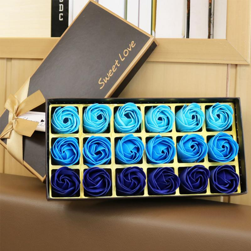 18 Pcs Simulation Rose Soap With Gift Box Valentine's Day Birthday Wedding Gifts Women Girl Bath Facial Soap Red/purple/Blue #