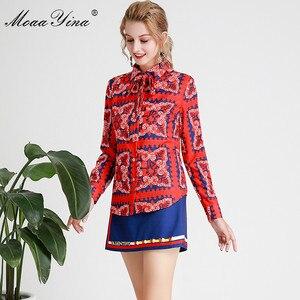 Image 5 - MoaaYina แฟชั่นชุดฤดูใบไม้ผลิฤดูร้อนผู้หญิงแขนยาวลายดอกไม้   พิมพ์เสื้อ + กางเกงขาสั้นสองชิ้นชุด