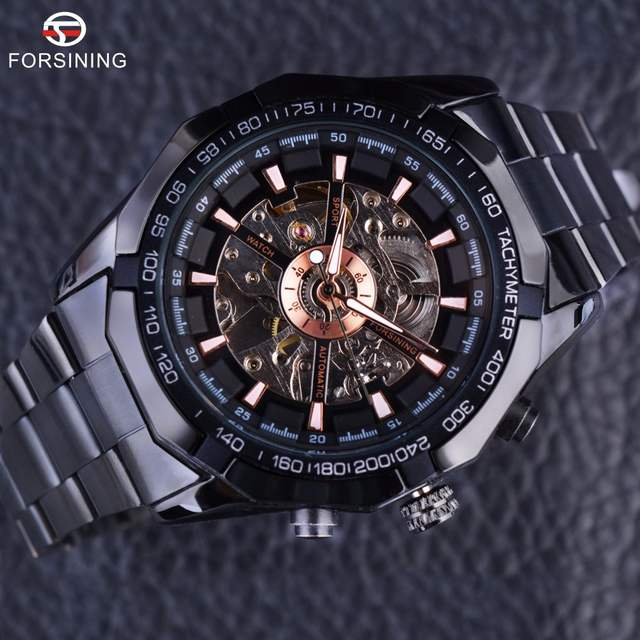 1e702762225 placeholder Forsining Esporte Série de Corrida de Esqueleto de Aço  Inoxidável Preto Dial de Ouro Top Marca