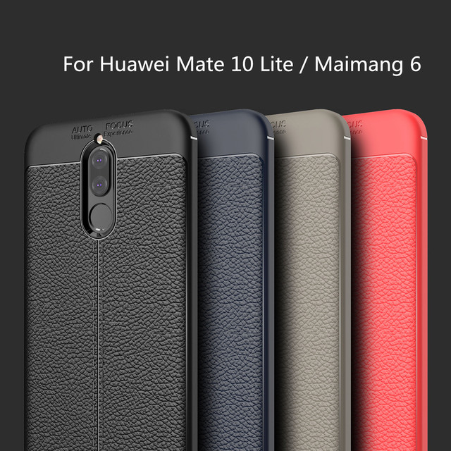 HATOLY For Capa Huawei Mate 10 Lite Case Soft Litchi TPU Rugged...