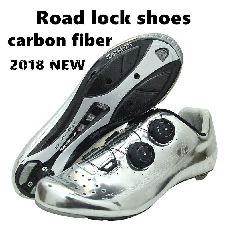 2018 NOUVEAU Professionnel route vélo en fiber de carbone de verrouillage matériel chaussures ultra lumière respirant enveloppé route vélo chaussures Pas Cher