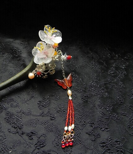 Green Sandal Wood Handmade Hair Stick Side Flower Accessory Vintage Classica Hair Stick Hair Jewelry pink crystal double layer classical hair stick vintage hair accessory hair stick hanfu hair accessory