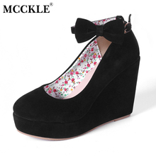 MCCKLE Women High Heels Elegant Wedges Wedding Dress Pumps Female Flock Platform Buckle Ankle Strap Bowtie Shoes Plus Size