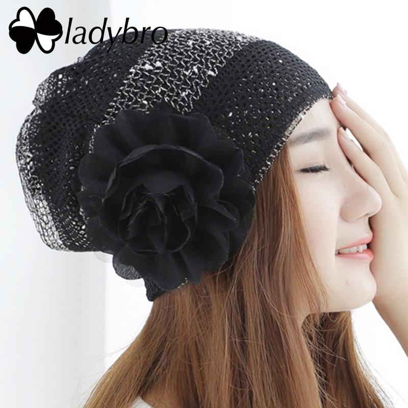 Ladybro Fashion Women Hat Cap Lace Flower Skullies Beanie Hat Scarf Female Spring Summer Casual Bonnet Femme Ladies Hat