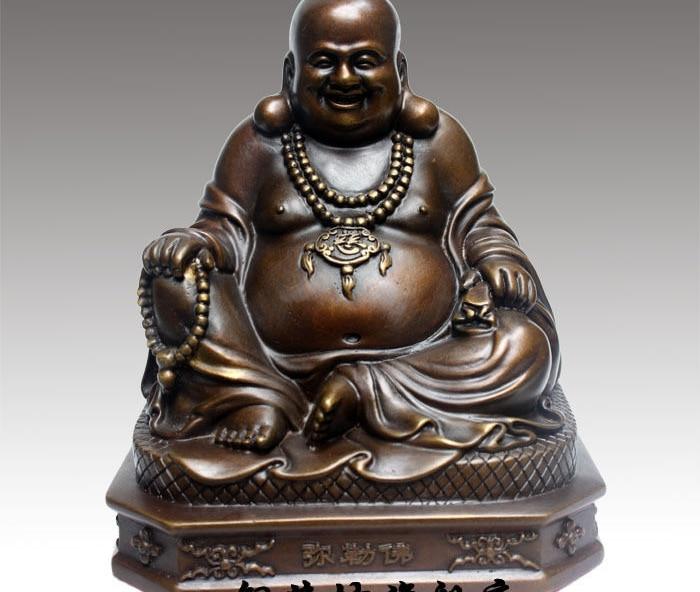 7 China Bronze Buddhism Happy Maitreya Buddha Sit Hand Hold Bead Statue