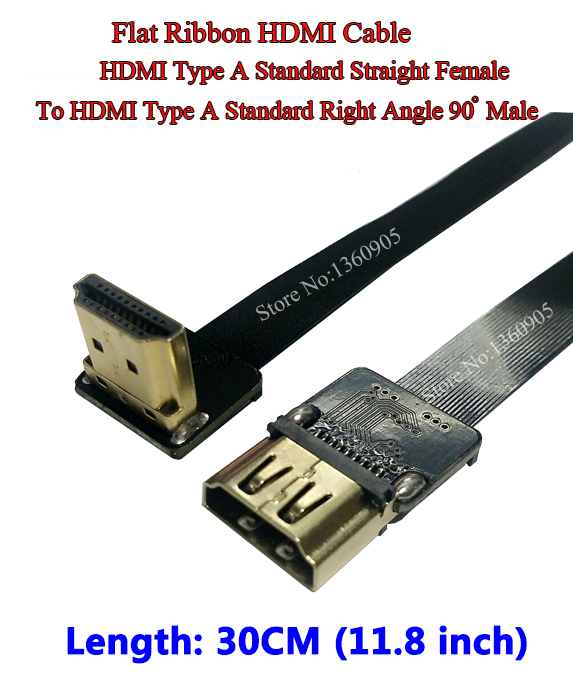 11.8'' 30CM Ultra Thin HDMI Cable Straight Type A Female to HDMI Male Standard Right Angle 90 Degree Flat Ribbon Cable CCTV 30cm hdmi to hdmi cable
