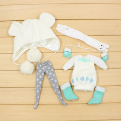 free shipping winter outfit hat stocking shoes snow dress for Blyth icy 1/6 Ice Rune gift toy