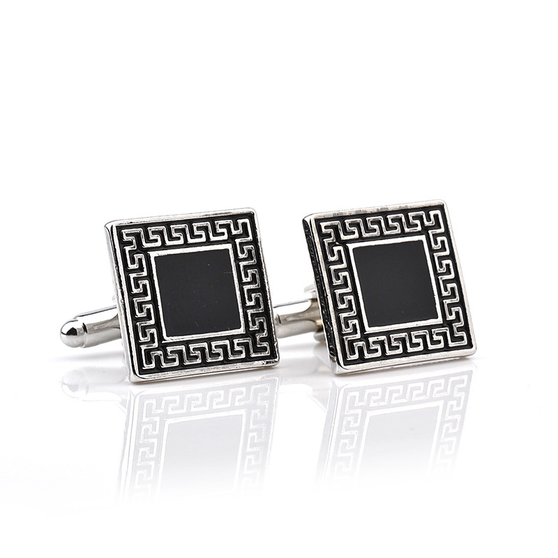Dropshipping Geometric Unique Wedding Groom Men Cuff Links Business Men's Silver Retro Cufflinks French Shirt Men Jewelry