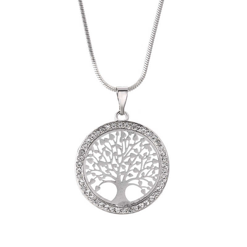 New Fashion Tree of Life Crystal Round Small Pendant Necklace Gold Silver Colors Elegant Women Jewelry Gifts Dropshipping 2019