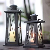 Moroccan Glass Candle Holder Antique Home Decoration Iron Candle Holder Metal Candle Lantern Wedding Candle Holder