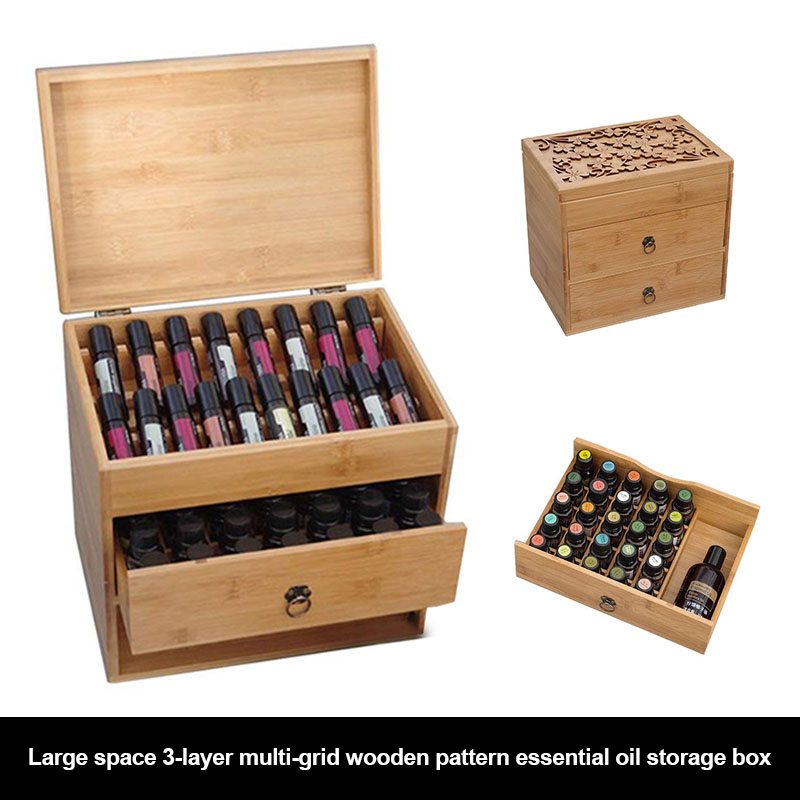 Boîte de rangement Portable à la mode en bois à motifs d'huile essentielle avec trois couches WXV vente