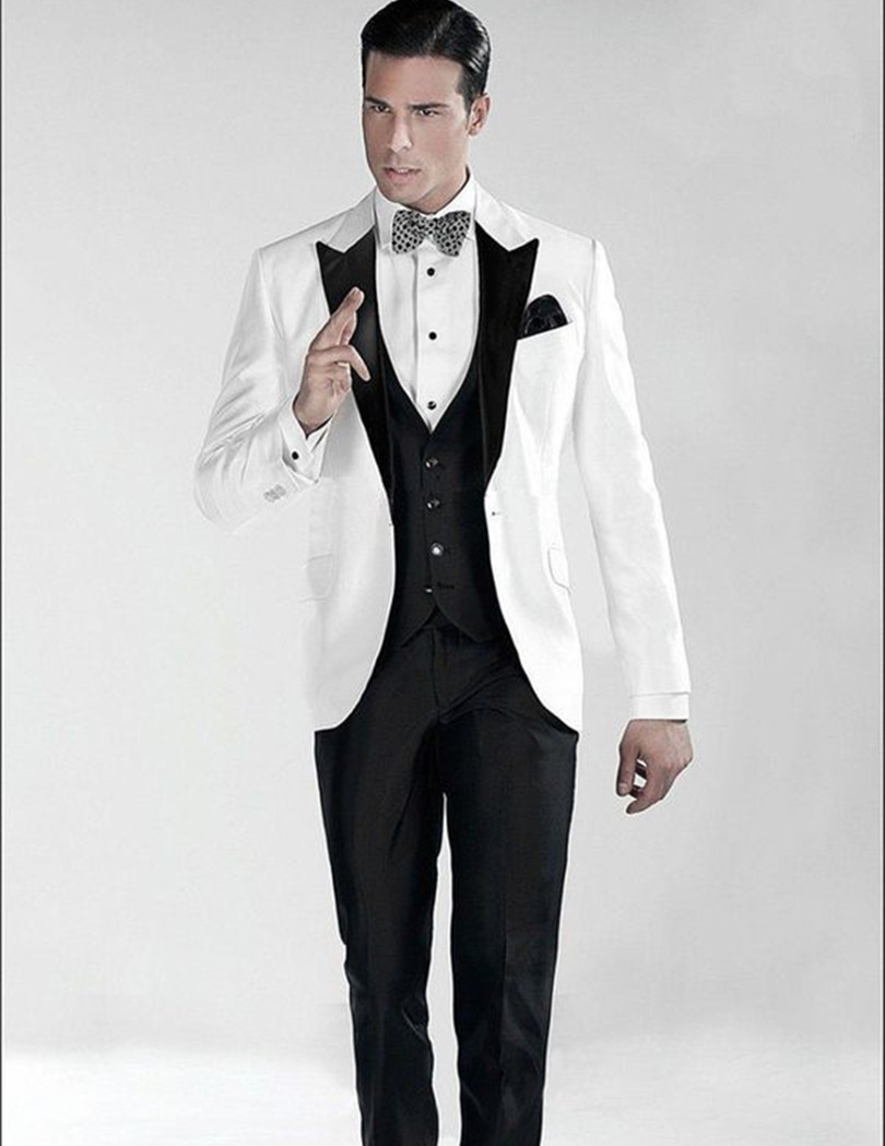 men shiny tuxedos slim fit stain for wedding groom wear white three piece suit for 2016 mens stage wear