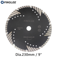 FINGLEE 230mm/9inch Diamond Cutting Saw Blade Turbo Teeth Slant Protection Cutting Disc for Concrete  Marble Granite Stone|Saw Blades|   -