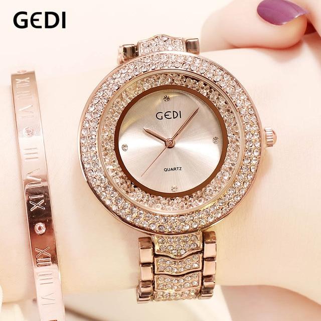 GEDI Watches Women Rhinestone Luxury Ladies Clock Fashion Women's Watch Waterproof Female Quartz Wristwatch relogio feminino | Fotoflaco.net