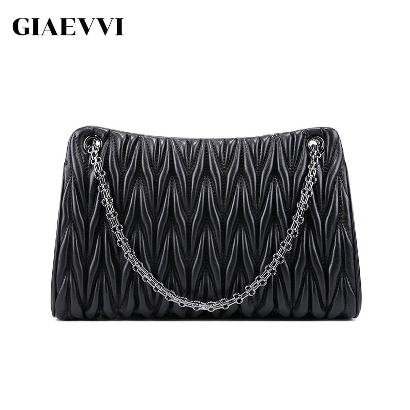 GIAEVVI Lambskin Luxury Handbags Women Shoulder Bags Wrinkle Chain Designer Fashion Genuine Leather Handbag Crossbody for Lady-in Shoulder Bags from Luggage & Bags    1