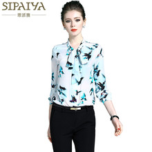 SIPAIYA 2017 Brand New High Quality Silk Women Blouses Luxury Bow Collar Elegant OL Work Wear Formal Natural Silk Tops