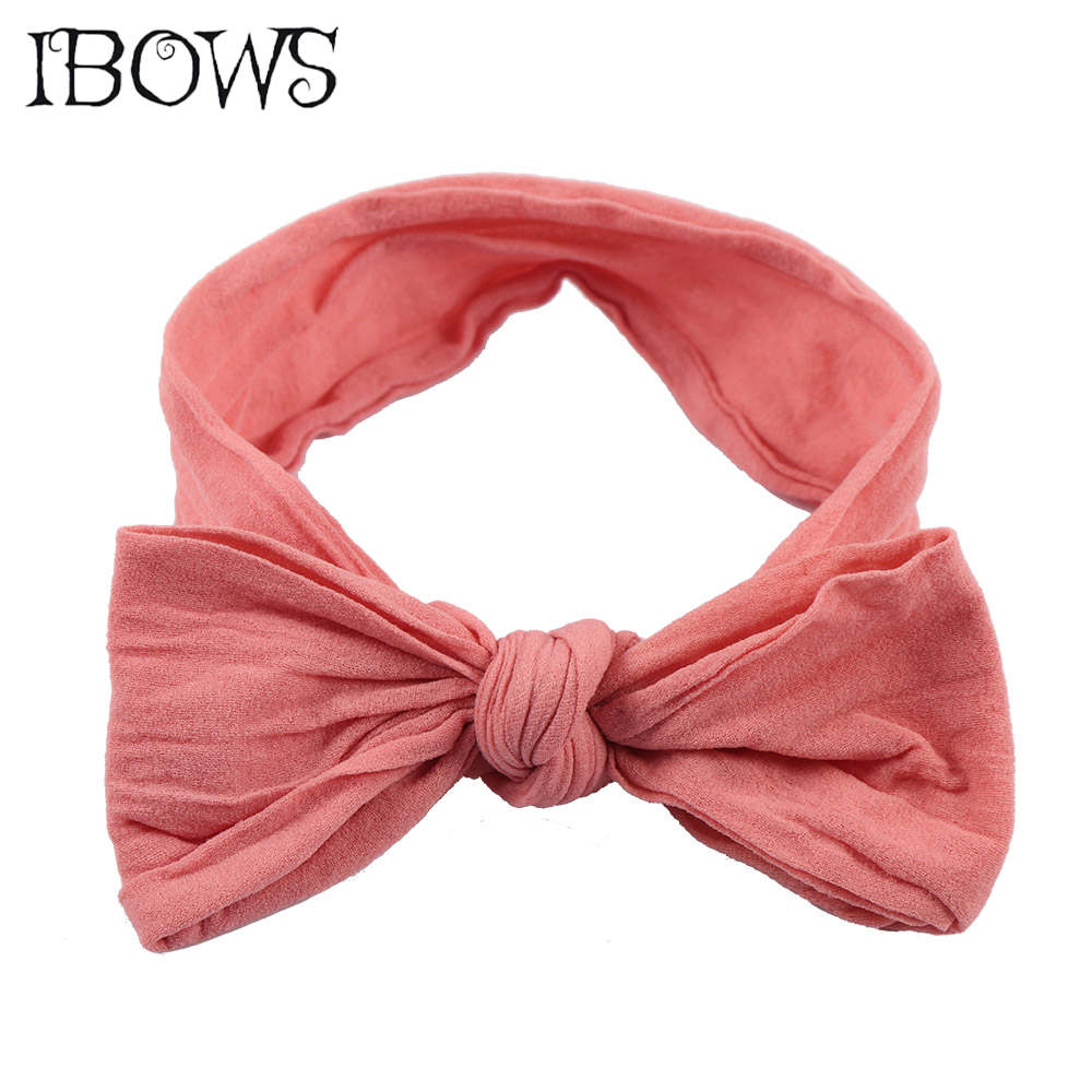 Solid Nylon Headband Knotted Hair Bows Headwrap For Kids Children Soft Headwear Hair Accessories popular in europe and america children wear hair knotted cotton big bow tie children hair baby hair headband