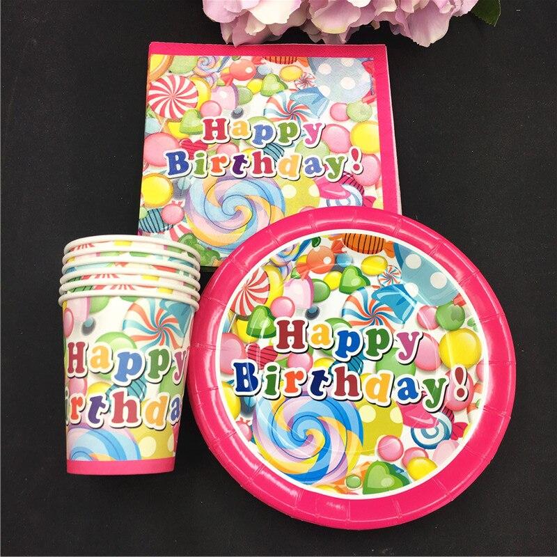 NEW Candy balloon theme 10pcs paper cups+10pcs plates+10pcs napkins kids favors birthday party Tableset decoration