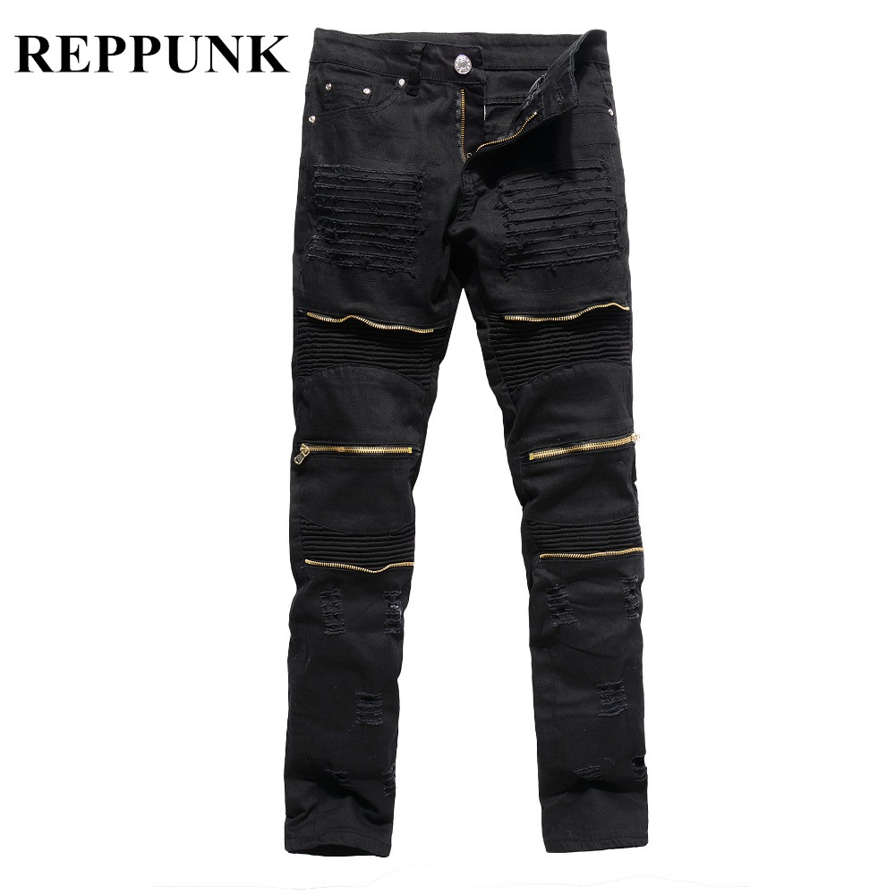 REPPUNK 2019 New Ripped Biker Jeans Men's Streetwear Knee Holes Cargo Denim Pants Ankle Zipper Slim Motorcycle Male Skinny Denim