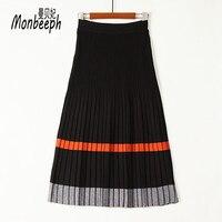 Monbeeph Fashion Vintage Pleated Skirt Women Elegant Knitted Skirt Autumn Winter Female High Waist Long stripe print Skirt
