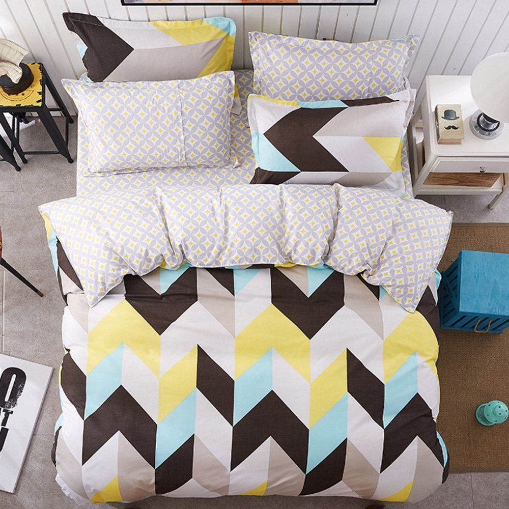 4 Piece Bed Sheets Set Black White Yellow Blue Zig Zag Chevron Pattern 1 Flat Sheet 1 Duvet Cover and 2 Pillow Cases