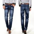 Classic Loose Mid Waist Relaxed-Fit Straight High Elasticity Leg Easy Slim Fit Silver Striped Buckle Jeans for Men