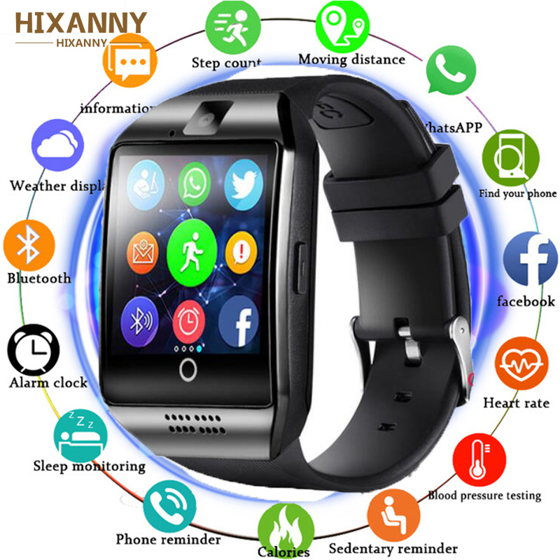 32f7849b3 Bluetooth Smart Watch Q18 With Camera Facebook Whatsapp Twitter Sync SMS Smartwatch  Support SIM TF Card For IOS Android Huawei
