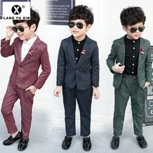 Комплект из 2 предметов: пальто и штаны костюмы для мальчиков на свадьбу, праздничная официальная детская одежда модные костюмы для мальчиков Одежда для маленьких мальчиков