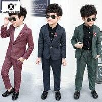 Комплект из 2 предметов: пальто и штаны костюмы для мальчиков на свадьбу, праздничная официальная детская одежда модные костюмы для мальчик...