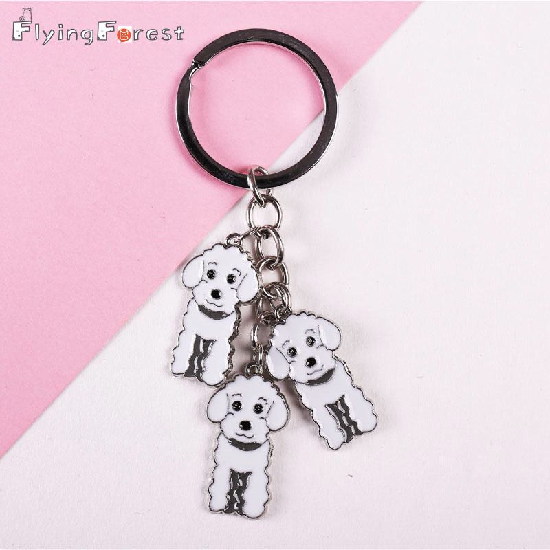 3 kleur poedel auto sleutelhanger teddy hond sleutelhanger diy huisdier tag sleutelhangers mode-sieraden hangers cadeau beste vriend daling van de scheepvaart