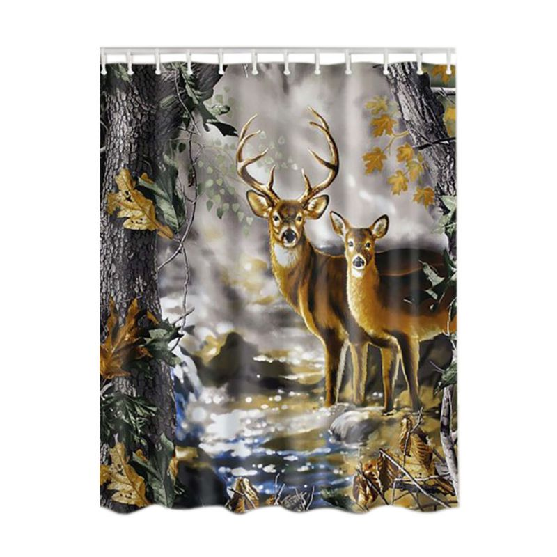 Bamboo Forest /Colorful Tree / Deer / Vessel / Stone Waterproof Shower Curtains Bathroom ...