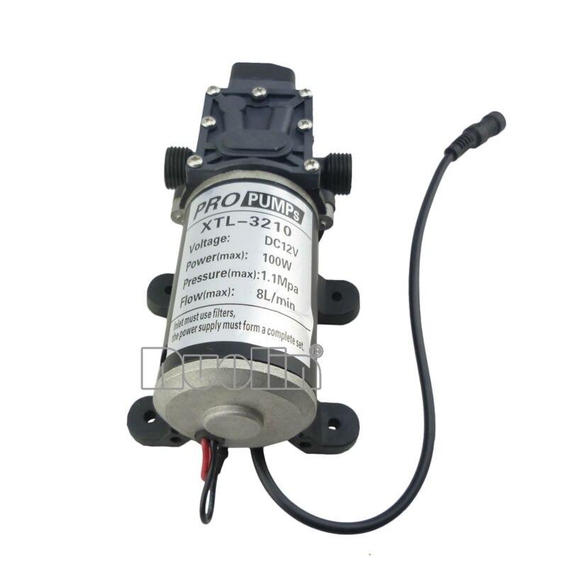 BEST DC 12V 100W High Pressure Micro Diaphragm Water Pump Automatic Switch 8L/min 18.3 x 10 x 7.5cm 160psi 8l min dc 100w water diaphragm pump 24v