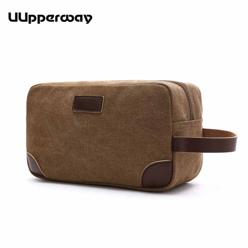 Men's Small Bag Good Quality Canvas Hand Bags Casual Travel Phone Pouch Card Bag Leather Handle Multicolor Male Mini Clutch Bag