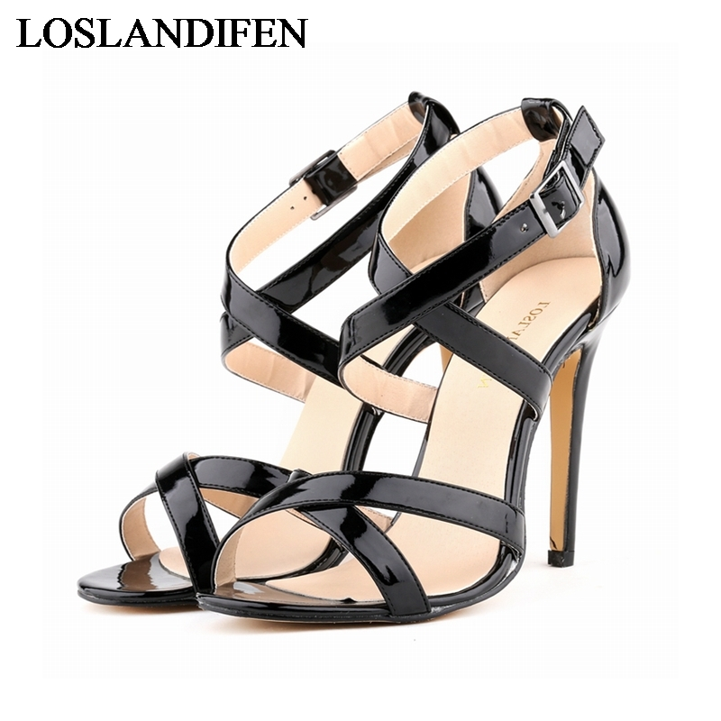 2018 Women Shoes High Heel Sandal Gladiator Heel Summer New Female Ankle-Wrap Sexy Dress Thin Heels Sandals  NLK-B0052 rousmery 2017 ankle wrap rhinestone high heel sandals woman abnormal jeweled heels gladiator sandals women big size 43