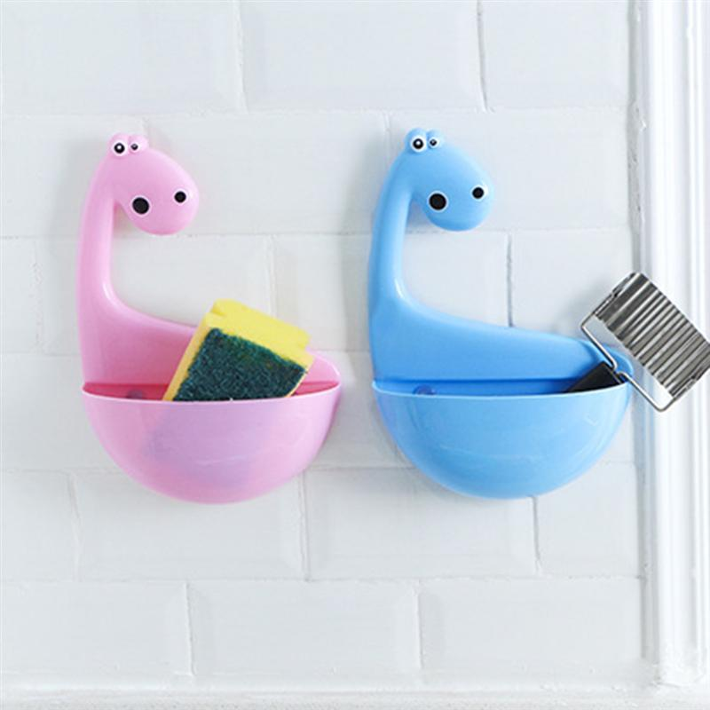 Dinosaur Toothbrush Holder Creative Cute Cartoon Wall Mount Suction Cup Toothpaste Organizer For Children Bathroom Accessories image