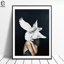 ZeroC Cuadros Posters And Prints Pigeon Wall Art Canvas Painting Pictures For Living Room Nordic Girl Home Decoration