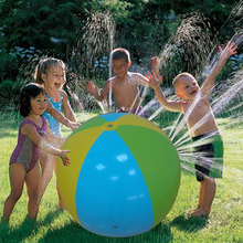 75cm 65cm Inflatable Beach Ball Sprinkler Multicolor Children Water Fun Pool Toy Entertainment Outdoor Game Environmental PVC(China)
