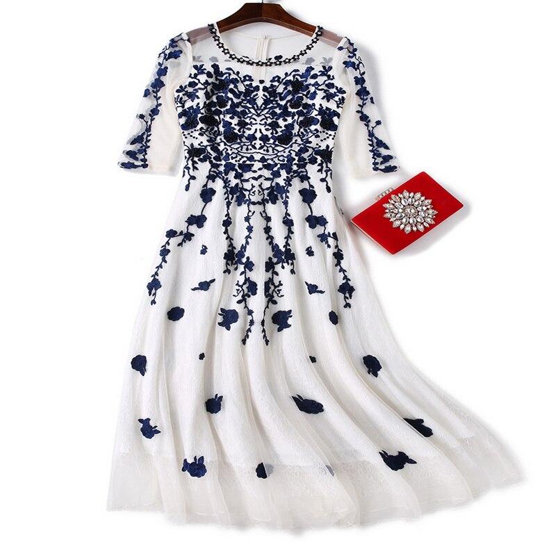 Manches Pour Mariage Femmes 2018 Printemps 4 Occasion Perles Robe 3 Robes Blue Le Été En Dentelle Broderie Spéciale red Demoiselle D'honneur Partie Cqntt87x