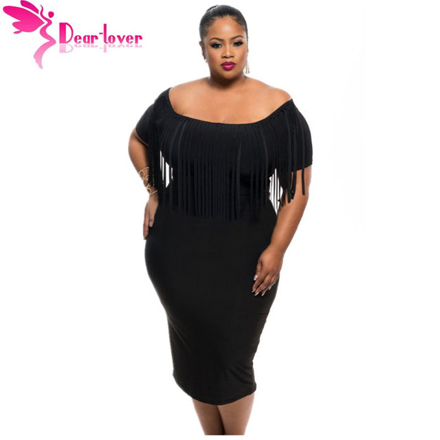 a312185a83 Dear Lover Vestido Robe Black Rosy Short Sleeve Fringe Top Plus Size Dress  Summer Big Women Clothing Large Size 2XL 3XL LC61055
